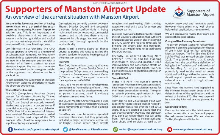 Manston Update April 2016 - Thanet Extra 276w x 170h RGB