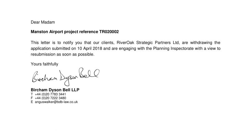RSP temporarily withdraw their DCO application for Manston Airport