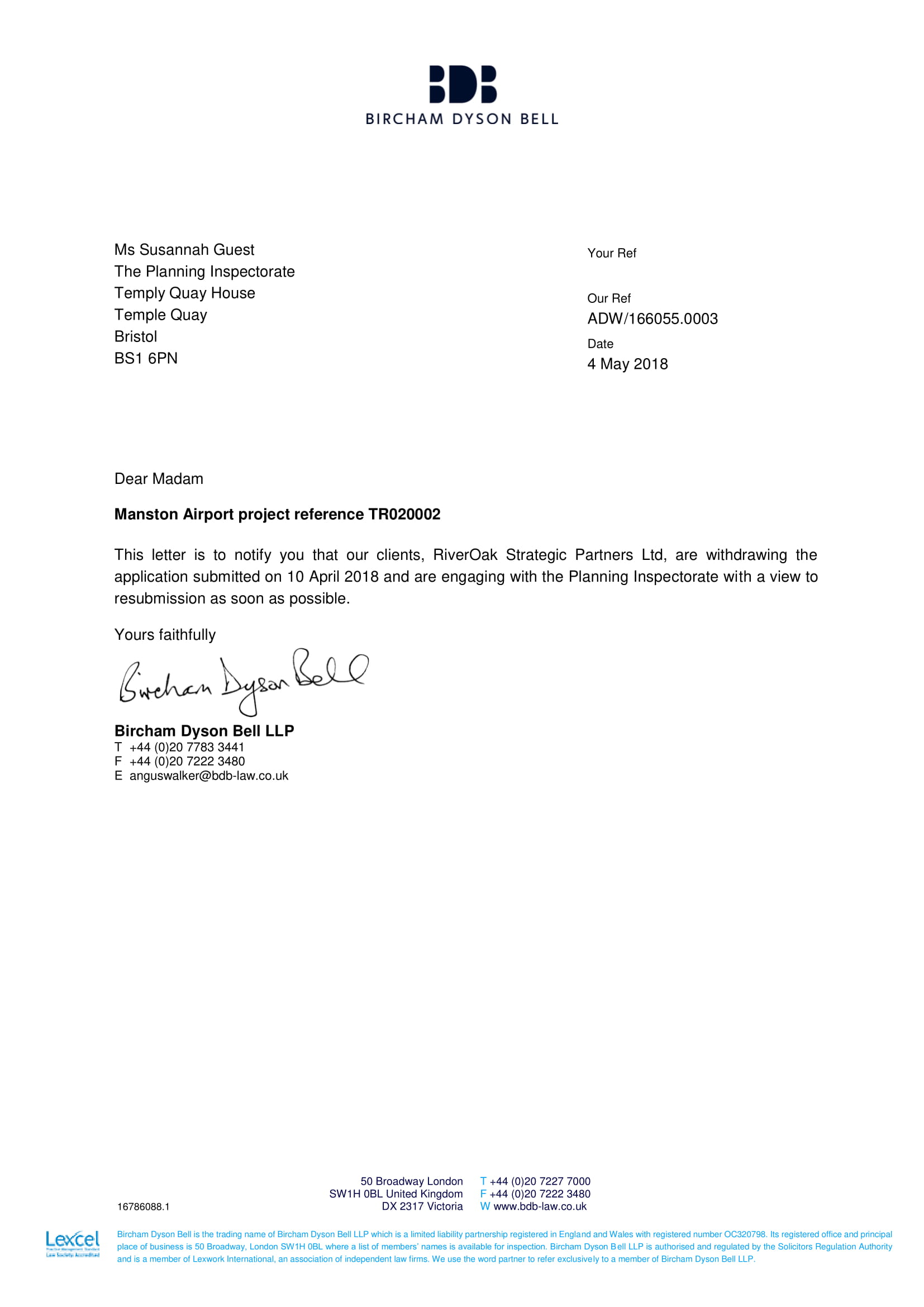 Letter To Withdraw Application from www.supportmanstonairport.org
