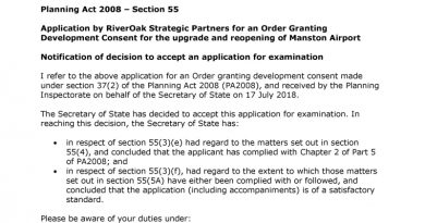 DCO Application for Manston Airport Accepted for Examination